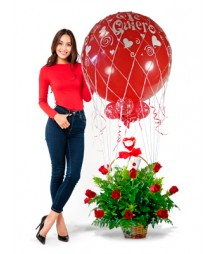 Big Balloon basket Roses