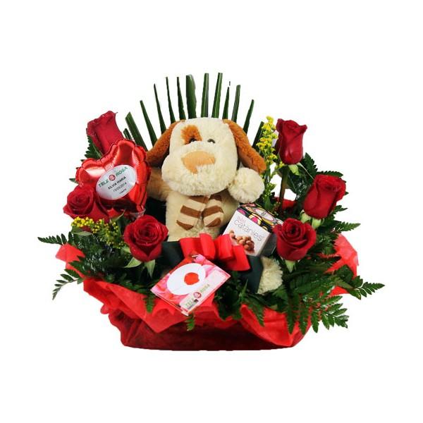 Ramo rosas y peluche - Enviofloresvalencia.com