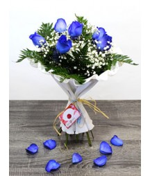 6 roses blue colour