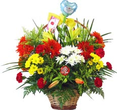0 Rainbow flower basket from Telerosa